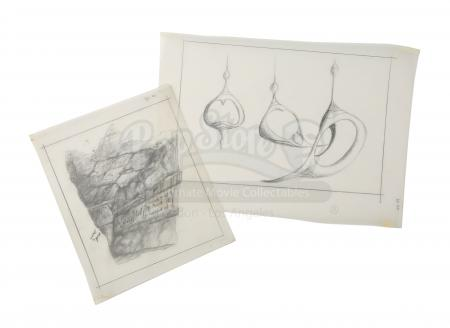 Lot # 45 - DARK CRYSTAL, THE - Hand-Drawn Harry Lange Concept Artwork - Passageway and Pendants