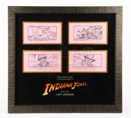 Lot # 99 - INDIANA JONES AND THE LAST CRUSADE - Production-Used Storyboard - Henry Slides Towards Tank Tread