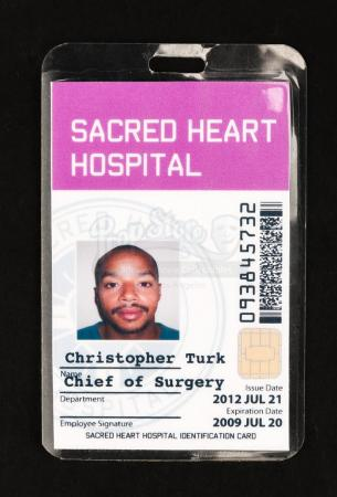 Lot # 163 - SCRUBS - Dr. Christopher Turk's (Donald Faison) Chief of Surgery ID Card