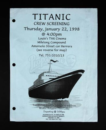 Lot # 184 - TITANIC - Crew Screening Ticket