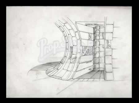 Lot # 2 - Harry Lange Auction - Hand-Drawn Millennium Falcon Corridor with Ladder Access to Gun Port
