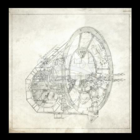 Lot # 4 - Harry Lange Auction - Hand-Drawn Exterior and Interior View of Millennium Falcon Laser Cannon with Crew
