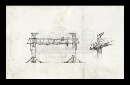 Lot # 5 - Harry Lange Auction - Hand-Drawn Front View and Perspective of Service Gantry