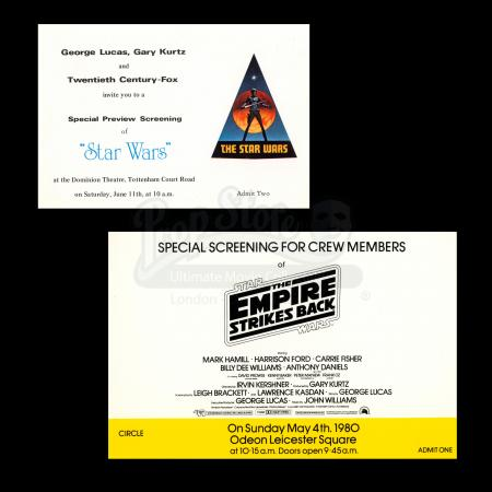 Lot # 7 - Harry Lange Auction - Star Wars Special Preview Screening Ticket and Invitation for Crew