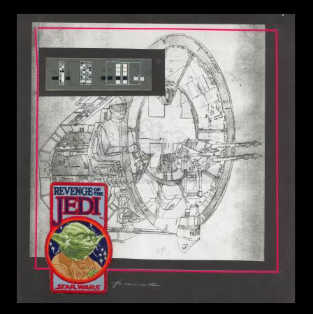 Lot # 11 - Harry Lange Auction - Display Composite of Revenge of the Jedi Patch, Instrumentation Acrylic Panel Design and Gun Port Print - Signed by Harry Lange