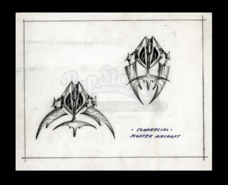 Lot # 13 - Harry Lange Auction - Hand-Drawn Fighter Aircraft Concept with Retractable Wings