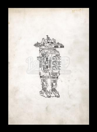 Lot # 15 - Harry Lange Auction - Hand-Drawn Early Harry Lange Concept Design for Droid