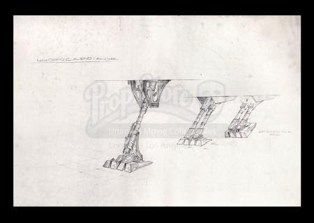 Lot # 25 - Harry Lange Auction - Print of Space Ship Undercarriage with Retractable Pads