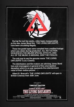 "Lot #165 - JAMES BOND: THE LIVING DAYLIGHTS (1987) - UK Double-Crown ""Anti-Piracy"" Poster 1987"