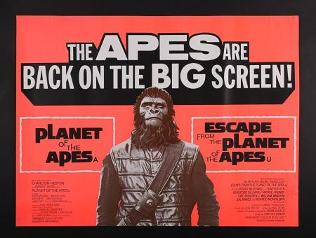 Lot #359 - PLANET OF THE APES (1968) / ESCAPE FROM THE PLANET OF THE APES (1971) - UK Double-Bill Quad Poster c1972-73