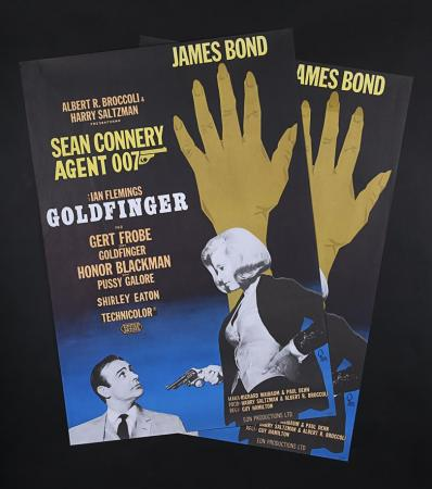 Lot #128 - JAMES BOND: GOLDFINGER (1964) - Two Swedish Posters 1967 Re-Release