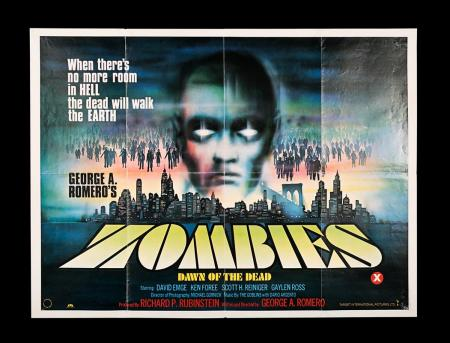 Lot #277 - ZOMBIES: DAWN OF THE DEAD (1978) - UK Quad Poster 1978