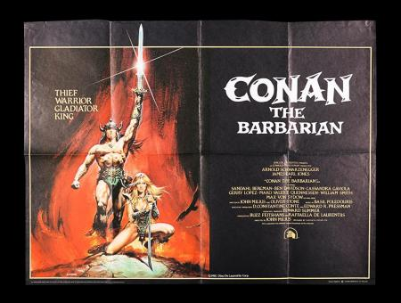 Lot #352 - CONAN THE BARBARIAN (1982) - UK Quad Poster 1982