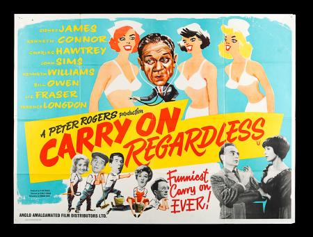 Lot #15 - CARRY ON REGARDLESS (1961) - UK Quad Poster 1961