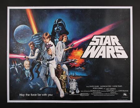 "Lot #387 - STAR WARS: EPISODE IV: A NEW HOPE (1977) - UK Quad ""Non-Oscars"" @ Poster 1977"