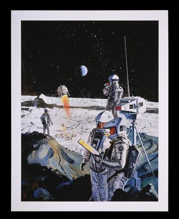 Lot #5 - 2001: A SPACE ODYSSEY (1968) - Limited-Edition Print of Astronauts and Lunar Base by Robert McCall