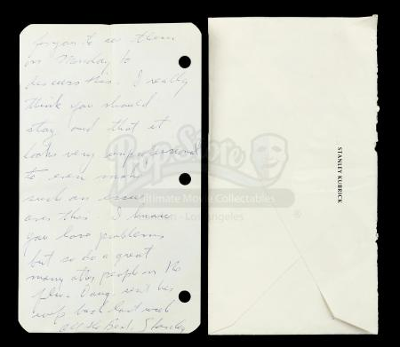 Lot # 9 - Entertainment Memorabilia Live Auction - Handwritten and Signed Stanley Kubrick Letter