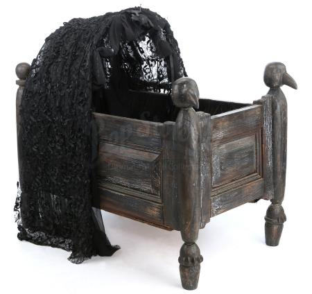 Lot #17 - ADDAMS FAMILY VALUES (1993) - Pubert Addams' (Kaitlyn and Kristen Hooper) Carved Wooden Baby Crib