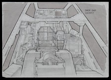 Lot #26 - ALIENS (1986) - Hand-drawn Ron Cobb Dropship Cockpit Front View Concept Sketch