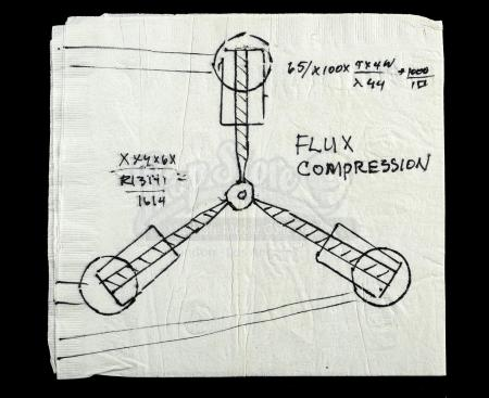 Lot #70 - BACK TO THE FUTURE (1985) - Doc Brown's (Christopher Lloyd) Flux Capacitor Napkin Drawing