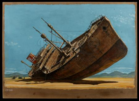 Lot #194 - CLOSE ENCOUNTERS OF THE THIRD KIND (1977) - Hand-Painted Ron Cobb Shipwreck Concept Illustration