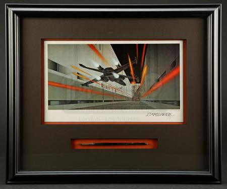 Lot #702 - STAR WARS: A NEW HOPE (1977) - Signed Ralph McQuarrie Print with Original Paintbrush