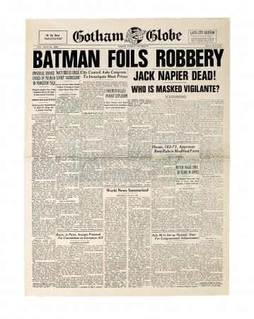 "Lot #100 - BATMAN (1989) - Gotham Globe ""Batman Foils Robbery - Jack Napier Dead"" Newspaper"