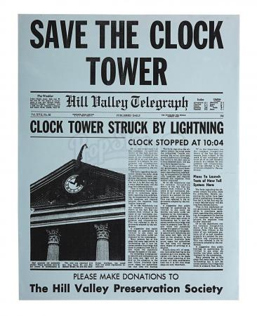 "Lot #73 - BACK TO THE FUTURE (1985) - ""Save The Town Clock"" Flyer"