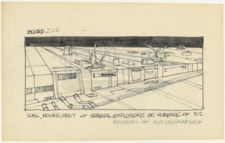 Lot #700 - STAR WARS: A NEW HOPE (1977) - Hand-drawn Joe Johnston Death Star Trench Storyboard