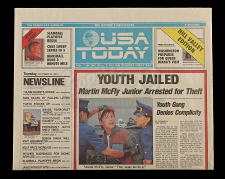 Lot #75 - BACK TO THE FUTURE PART II (1989) - Youth Jailed' USA Today Newspaper