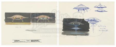 "Lot #124 - BATTERIES NOT INCLUDED (1987) - Pair of Hand-drawn Ralph McQuarrie ""Mom"" Spaceship Illustration Sheets"