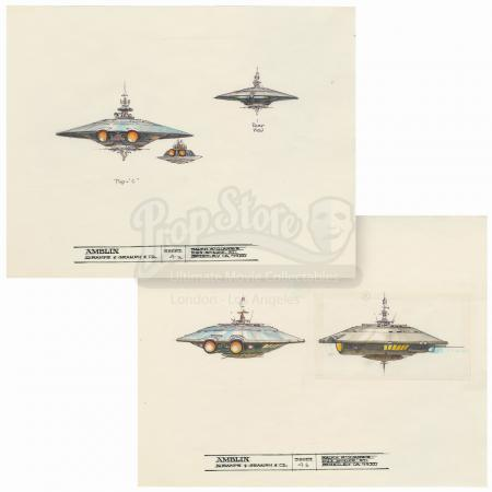 "Lot #123 - BATTERIES NOT INCLUDED (1987) - Pair of Hand-drawn Ralph McQuarrie ""Pop"" Spaceship Illustration Sheets"