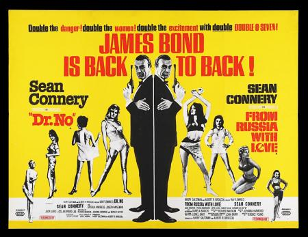 Lot #8 - DR. NO (1962) / FROM RUSSIA WITH LOVE (1963) - UK Quad Double-Bill Poster, 1965 Re-Release