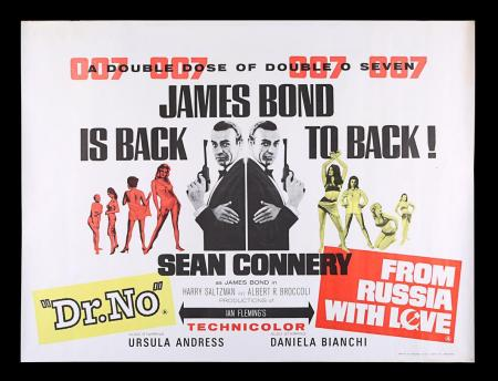 Lot #9 - DR. NO (1962) / FROM RUSSIA WITH LOVE (1963) - UK Quad Double-Bill Poster, 1965 Re-Release