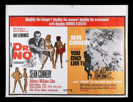 Lot #12 - DR. NO (1962) / YOU ONLY LIVE TWICE (1967) - UK Quad Double-Bill Poster, 1968 Re-Release