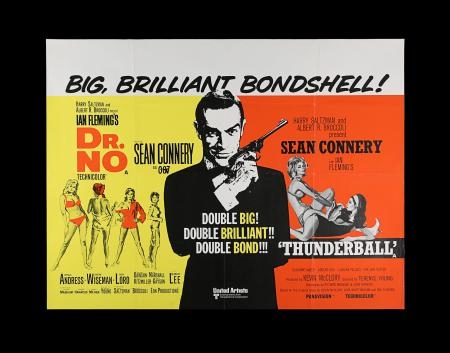 Lot #13 - DR. NO (1962) / THUNDERBALL (1965) - UK Quad Double-Bill Poster, 1972 Re-Release