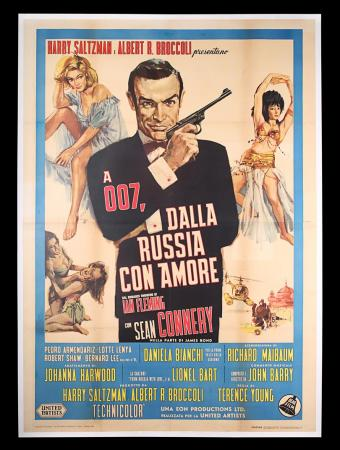 Lot #17 - FROM RUSSIA WITH LOVE (1963) - Linen-backed Italian Four-Foglio, 1964