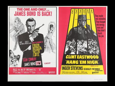Lot #20 - FROM RUSSIA WITH LOVE (1963) / HANG 'EM HIGH (1968) - UK Quad Double-Bill Poster, 1971 Re-Release