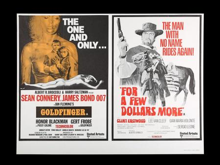 Lot #27 - GOLDFINGER (1964) / FOR A FEW DOLLARS MORE (1965) - UK Quad Double-Bill Poster, 1969 Re-Release