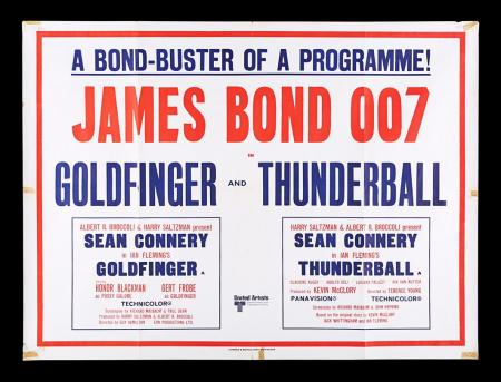 Lot #31 - GOLDFINGER (1964) / THUNDERBALL (1965) - UK Quad Double-Bill Poster, 1968 Re-Release