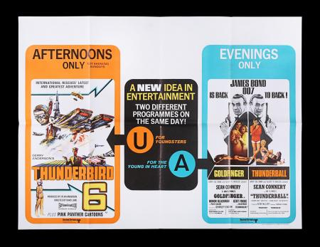 Lot #32 - GOLDFINGER (1964) / THUNDERBALL (1965) / THUNDERBIRD 6 (1968) - UK Quad Poster,1968 Re-Release