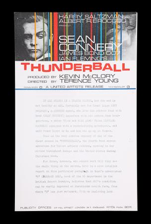Lot #35 - THUNDERBALL (1965) - UK Advance Press Release, 1965