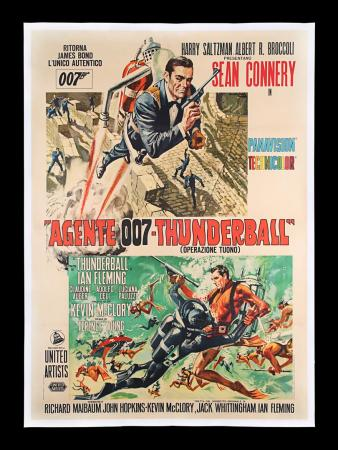 Lot #40 - THUNDERBALL (1965) - Linen-backed Italian Two-Foglio, 1965