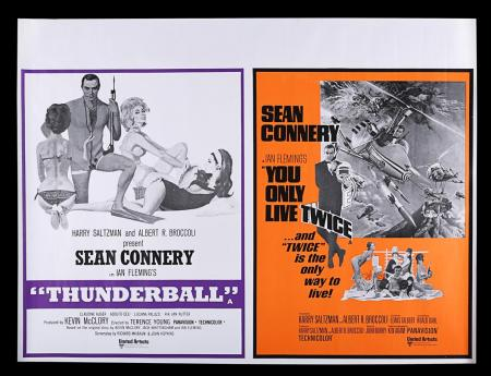 Lot #43 - THUNDERBALL (1965) / YOU ONLY LIVE TWICE (1967) - UK Quad Double-Bill Poster, 1968 Re-Release