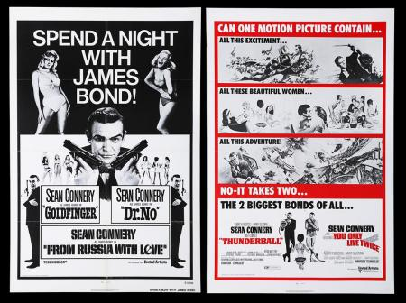 Lot #303 - THUNDERBALL (1965) / YOU ONLY LIVE TWICE (1967) AND GOLDFINGER (1964) / DR. NO (1962) / FROM RUSSIA WITH LOVE (1963) - Two US One-Sheet Posters, 1971-72 Re-Releases