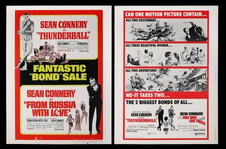 Lot #304 - THUNDERBALL (1965) / FROM RUSSIA WITH LOVE (1963) AND THUNDERBALL (1965) / YOU ONLY LIVE TWICE (1967) - Two US 30x40 Posters, 1968-70 Re-Releases