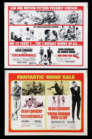 Lot #305 - THUNDERBALL (1965) / FROM RUSSIA WITH LOVE (1963) AND THUNDERBALL (1965) / YOU ONLY LIVE TWICE (1967) - Two US Half-Sheet Posters, 1968-71 Re-Releases