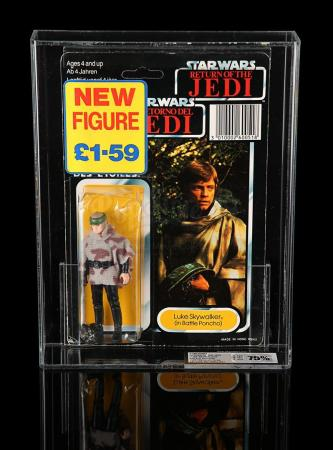 Lot # 146 - Luke Skywalker (Battle Poncho) Tri-Logo ROTJ79 UKG 75