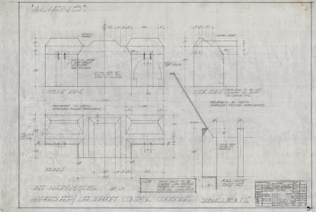 Lot # 67 - Alien & Aliens Collection Auction - Narcissus Internal Detail 'Hypersleep Control Console' Original Hand Drawn Production Design Artwork