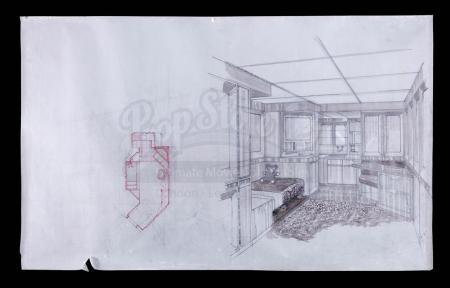 Lot # 98 - Alien & Aliens Collection Auction - Space Station Interior Ripley's (Sigourney Weaver) Apartment Original Hand Drawn Production Design Artwork
